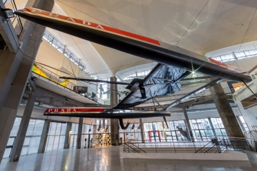 "The Catamaran AC72 ""Luna Rossa"" at  the National Museum of Science and Technology ""Leonardo da Vinci"" in Milan"